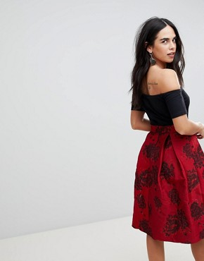 photo Off Shoulder Skater Dress with Printed Skirt by AX Paris, color Black/Red - Image 2