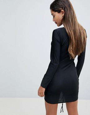 photo Long Sleeve Ruched Mini Dress by AX Paris, color Black - Image 2