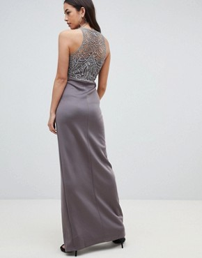 photo Lace Upper Maxi Dress with Side Slit by AX Paris, color Pewter - Image 2