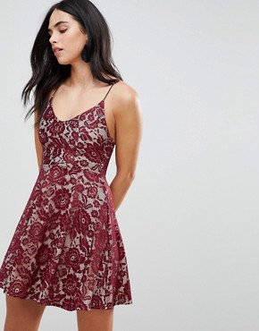 photo Lace Skater Dress by AX Paris, color Plum - Image 1