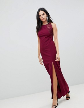 photo Slinky Maxi Dress with Side Slit by AX Paris, color Plum - Image 1