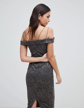 photo Lace Pencil Dress with Sleeve by AX Paris, color Pewter - Image 2