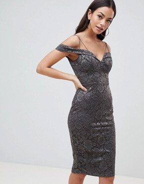 photo Lace Pencil Dress with Sleeve by AX Paris, color Pewter - Image 1