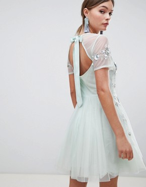 photo Embellished Tulle Open Back Mini Dress by ASOS DESIGN Premium, color Pale Blue - Image 2