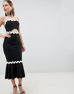 photo Rik Rak Pephem Midi Dress by ASOS DESIGN, color Black - Image 1