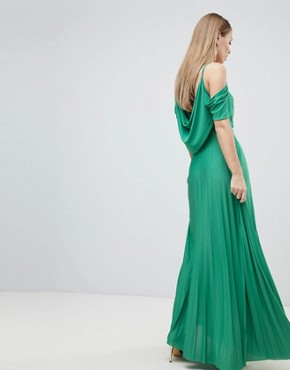 photo Cold Shoulder Cowl Back Pleated Maxi Dress by ASOS DESIGN, color Green - Image 2