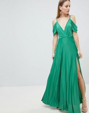 photo Cold Shoulder Cowl Back Pleated Maxi Dress by ASOS DESIGN, color Green - Image 1