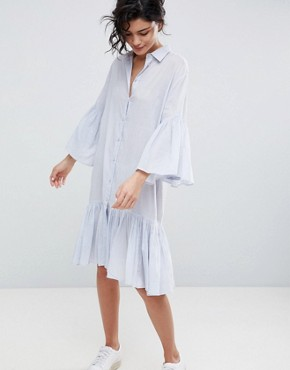 photo Cotton Shirt Dress by 2nd Day, color Halogen - Image 1