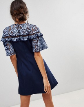 photo Floral Lace Sleeve Dress by Keepsake, color Dusk Blue - Image 2
