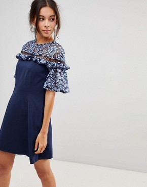 photo Floral Lace Sleeve Dress by Keepsake, color Dusk Blue - Image 1