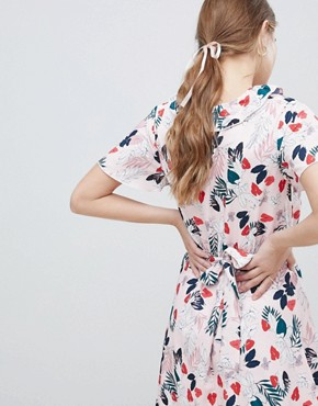 photo Leaf Print Belted Skater Dress by Uttam Boutique, color White - Image 2