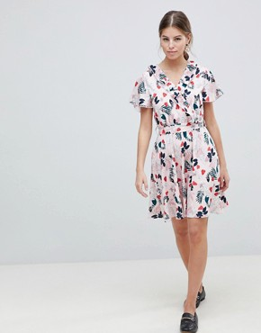 photo Leaf Print Belted Skater Dress by Uttam Boutique, color White - Image 1