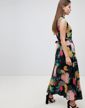 photo High Neck Floral Belted Maxi Dress by Uttam Boutique, color Multi - Image 2