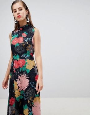 photo High Neck Floral Belted Maxi Dress by Uttam Boutique, color Multi - Image 1