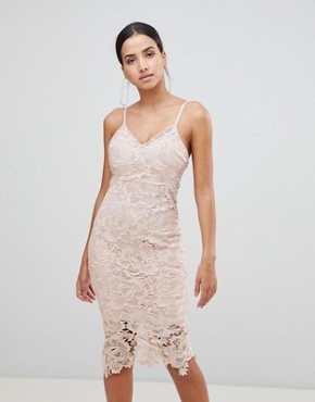 photo Lace Cami Midi Dress by AX Paris, color Blush - Image 1