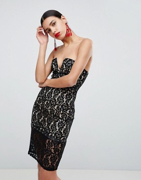 photo Strapless Lace Dress by AX Paris, color Black - Image 1
