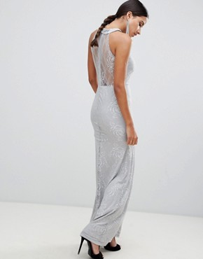 photo High Neck Lace Maxi Dress by AX Paris, color Grey - Image 2