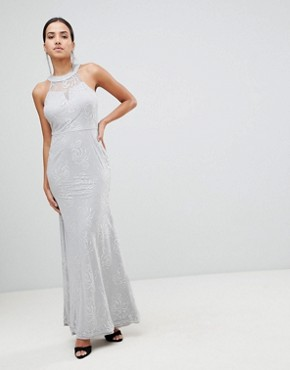 photo High Neck Lace Maxi Dress by AX Paris, color Grey - Image 1