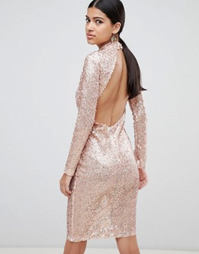 photo Sequin Bodycon Dress by AX Paris, color Rose Gold - Image 2