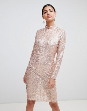 photo Sequin Bodycon Dress by AX Paris, color Rose Gold - Image 1