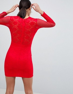 photo Lace Bodycon Dress by AX Paris, color Red - Image 2