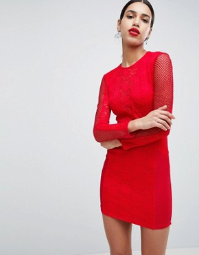 photo Lace Bodycon Dress by AX Paris, color Red - Image 1