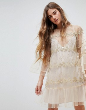 photo Lace Longsleeve Mini Dress by Stevie May, color Nude Pale Gold - Image 1