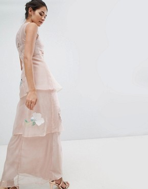 photo Organza Embroidery Maxi Dress by Hope & Ivy, color Blush - Image 2