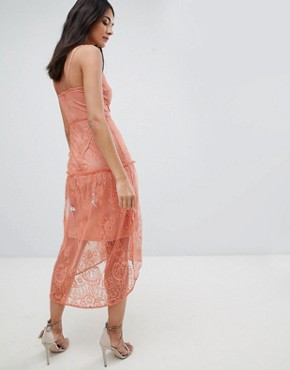 photo Lace Embroidery Cami Dress by Hope & Ivy, color Peach - Image 2