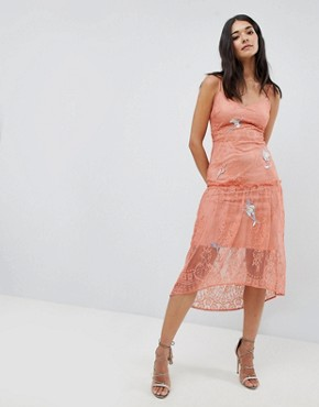 photo Lace Embroidery Cami Dress by Hope & Ivy, color Peach - Image 1
