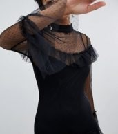 photo Long Sleeve Mesh Tier Dress by Hope & Ivy, color Black - Image 3