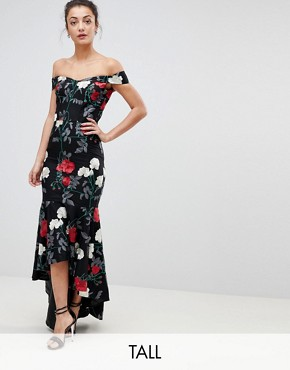 photo Bardot Midi Dress with Fishtail Hem by Chi Chi London Tall, color Multi - Image 1