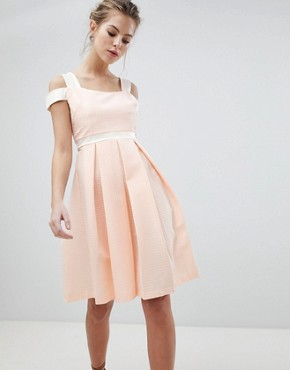 photo Skater Dress with Strap Detail by Vesper, color Peach - Image 1
