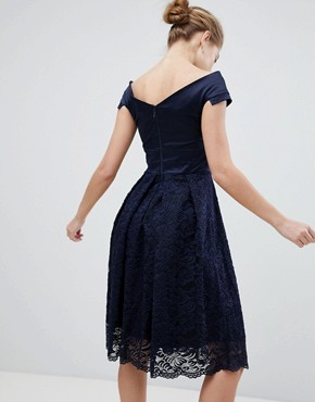 photo Lace Bardot Skater Dress by Vesper, color Navy - Image 2