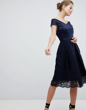 photo Lace Bardot Skater Dress by Vesper, color Navy - Image 1