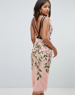 photo Floral Embroidered Pencil Midi Dress by ASOS DESIGN Tall, color Floral - Image 2