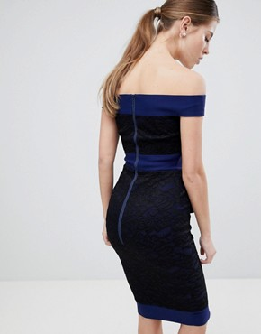 photo Lace Bardot Dress by Vesper, color Navy - Image 2