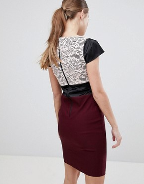 photo Lace Panel Pencil Dress by Vesper, color Mulberry - Image 2