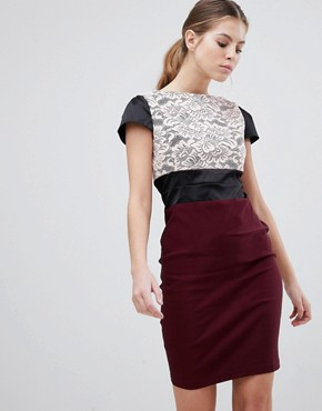 photo Lace Panel Pencil Dress by Vesper, color Mulberry - Image 1
