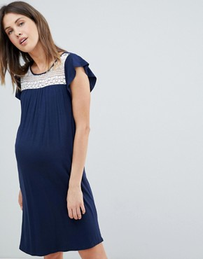 photo Crochet Insert Jersey Swing Dress by Mama.licious, color Navy - Image 1