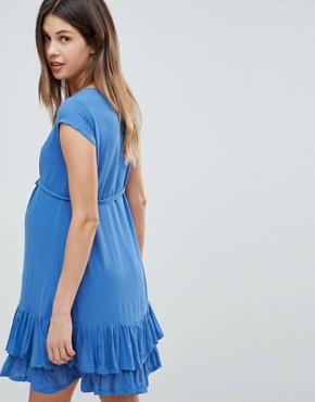 photo Ruffle Hem Dress by Mama.licious, color Blue - Image 2