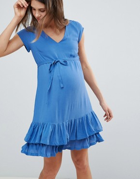 photo Ruffle Hem Dress by Mama.licious, color Blue - Image 1