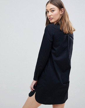 photo Maternity Cotton Mini Shirt Dress by ASOS DESIGN, color Black - Image 2