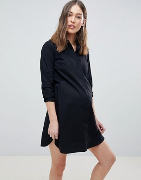 photo Maternity Cotton Mini Shirt Dress by ASOS DESIGN, color Black - Image 1