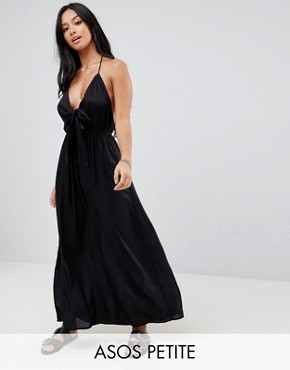 photo Woven Tie Front Maxi Beach Dress by ASOS PETITE, color Black - Image 1