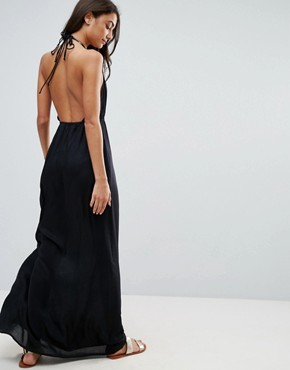 photo Woven Tie Front Maxi Beach Dress by ASOS TALL, color Black - Image 2