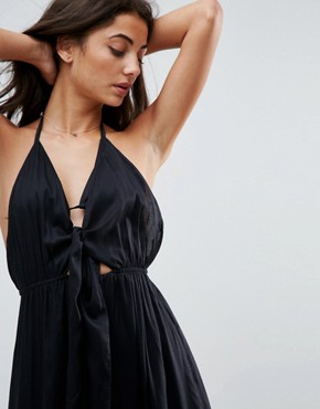 photo Woven Tie Front Maxi Beach Dress by ASOS TALL, color Black - Image 3