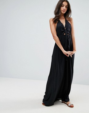 photo Woven Tie Front Maxi Beach Dress by ASOS TALL, color Black - Image 4