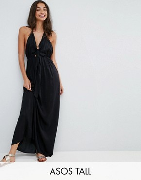 photo Woven Tie Front Maxi Beach Dress by ASOS TALL, color Black - Image 1