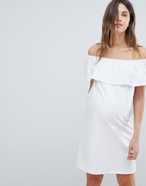 photo Bardot Jersey Dress by Mama.licious, color White - Image 1